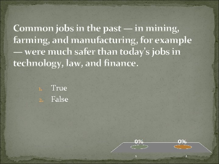 Common jobs in the past — in mining, farming, and manufacturing, for example —