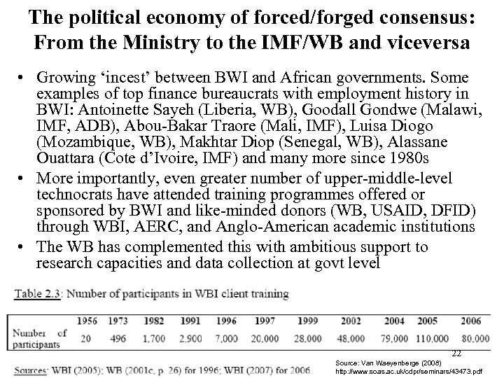 The political economy of forced/forged consensus: From the Ministry to the IMF/WB and viceversa