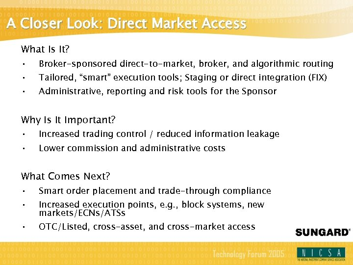 A Closer Look: Direct Market Access What Is It? • • • Broker-sponsored direct-to-market,