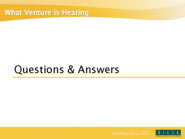 What Venture is Hearing Questions & Answers