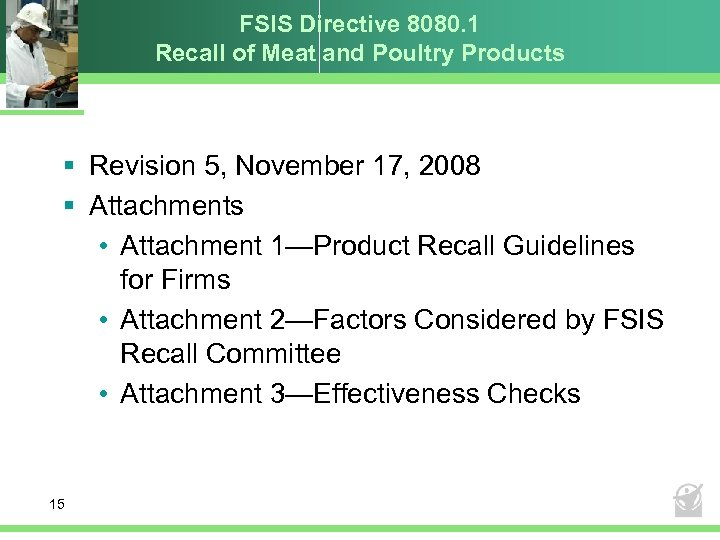 FSIS Directive 8080. 1 Recall of Meat and Poultry Products § Revision 5, November