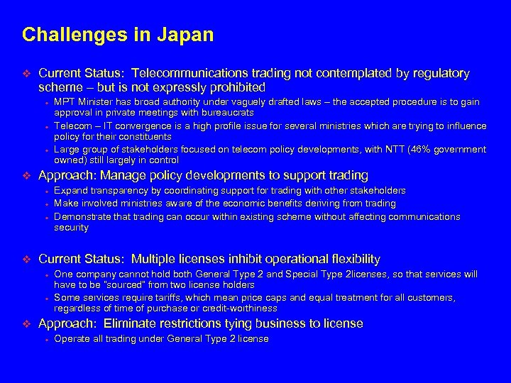 Challenges in Japan v Current Status: Telecommunications trading not contemplated by regulatory scheme –