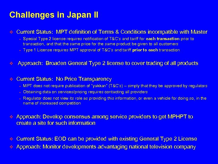 Challenges in Japan II v Current Status: MPT definition of Terms & Conditions incompatible