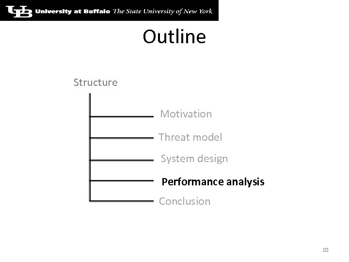Outline Structure Motivation Threat model System design Performance analysis Conclusion 10