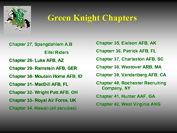 Green Knight Chapters Chapter 27, Spangdahlem A. B Eifel Riders Chapter 35, Eielson AFB,