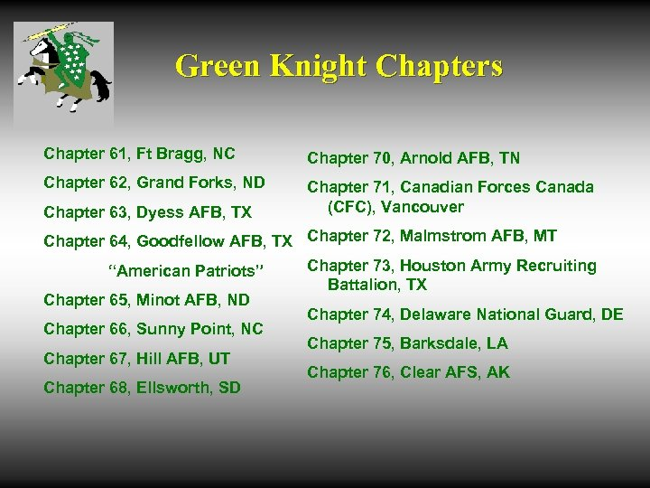 Green Knight Chapters Chapter 61, Ft Bragg, NC Chapter 70, Arnold AFB, TN Chapter