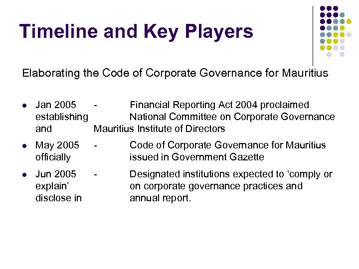 Timeline and Key Players Elaborating the Code of Corporate Governance for Mauritius l Jan