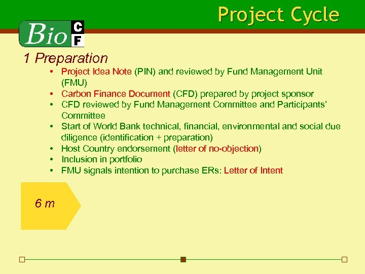 Project Cycle 1 Preparation • Project Idea Note (PIN) and reviewed by Fund Management