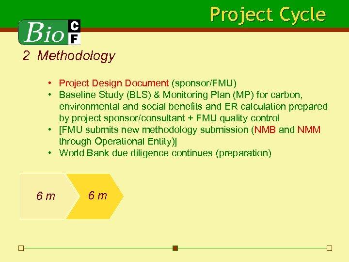 Project Cycle 2 Methodology • Project Design Document (sponsor/FMU) • Baseline Study (BLS) &
