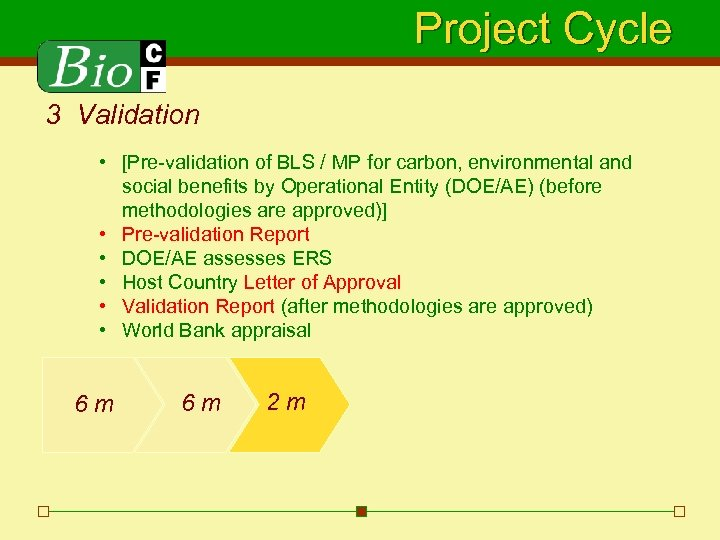 Project Cycle 3 Validation • [Pre-validation of BLS / MP for carbon, environmental and