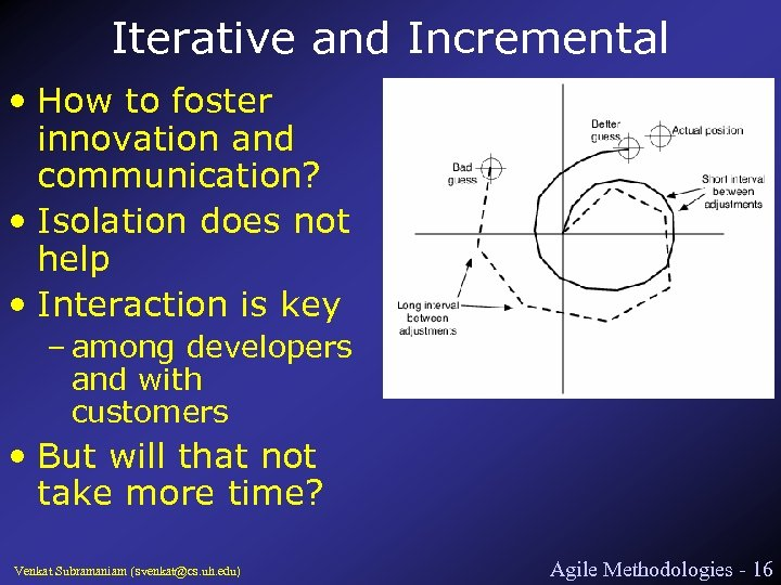 Iterative and Incremental • How to foster innovation and communication? • Isolation does not