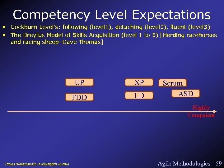 Competency Level Expectations • Cockburn Level's: following (level 1), detaching (level 2), fluent (level