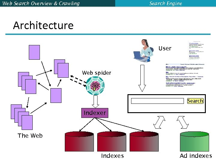 Web Search Overview & Crawling Search Engine Architecture User Web spider Search Indexer The