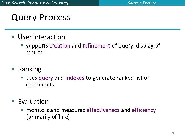Web Search Overview & Crawling Search Engine Query Process § User interaction § supports