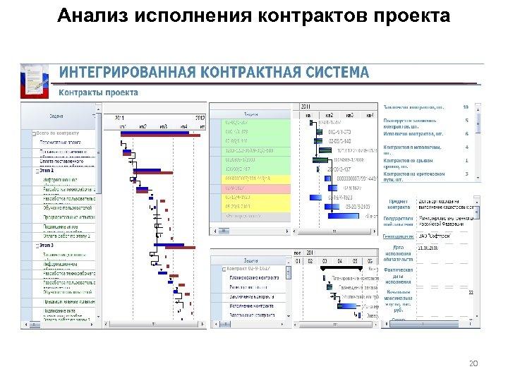 Анализ исполнения контрактов проекта 20