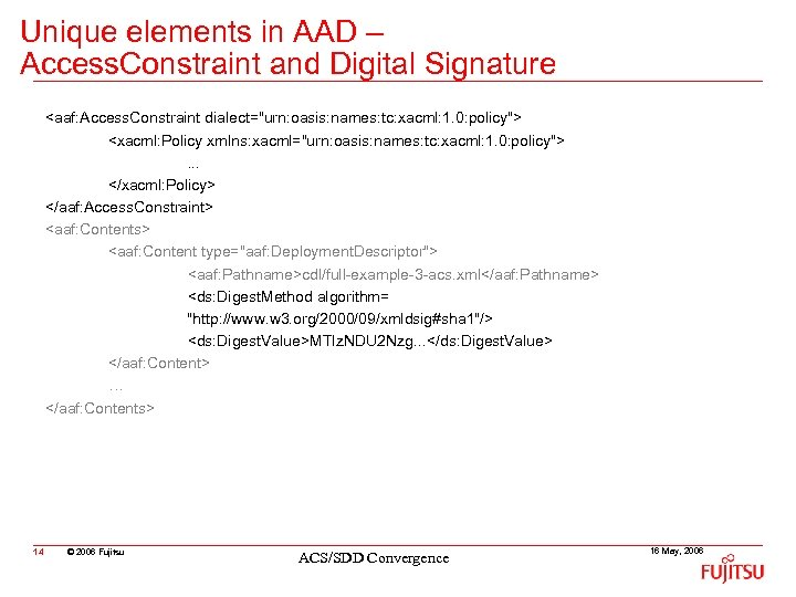 Unique elements in AAD – Access. Constraint and Digital Signature <aaf: Access. Constraint dialect=