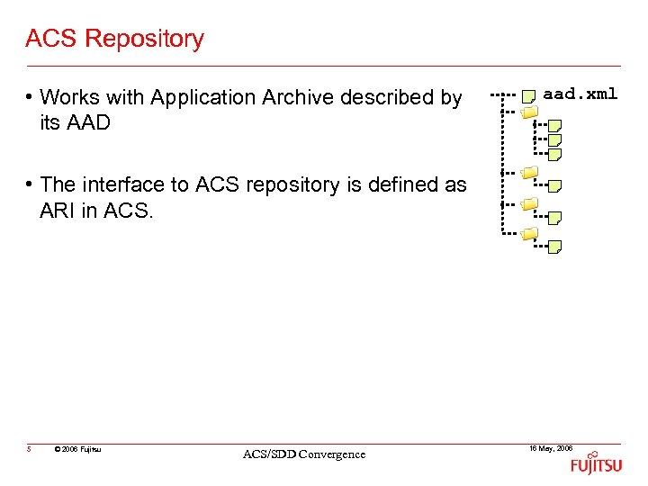 ACS Repository • Works with Application Archive described by its AAD aad. xml •