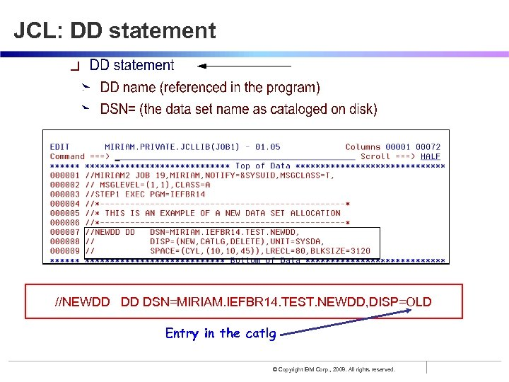 JCL: DD statement //NEWDD DD DSN=MIRIAM. IEFBR 14. TEST. NEWDD, DISP=OLD Entry in the