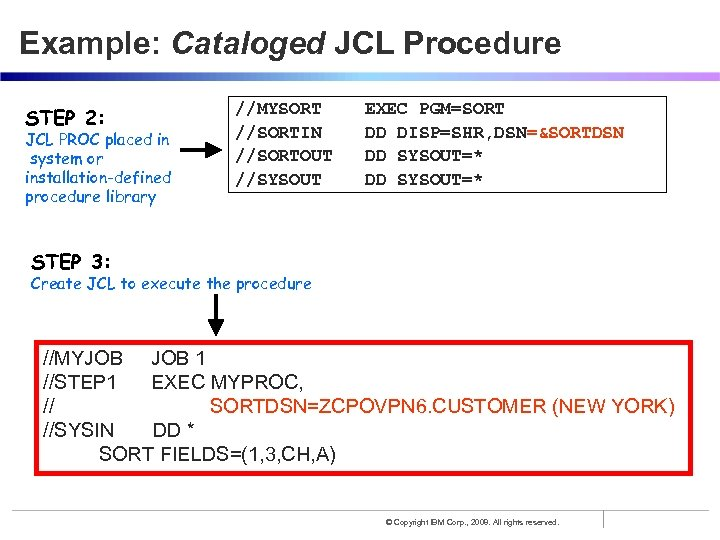 Example: Cataloged JCL Procedure STEP 2: JCL PROC placed in system or installation-defined procedure