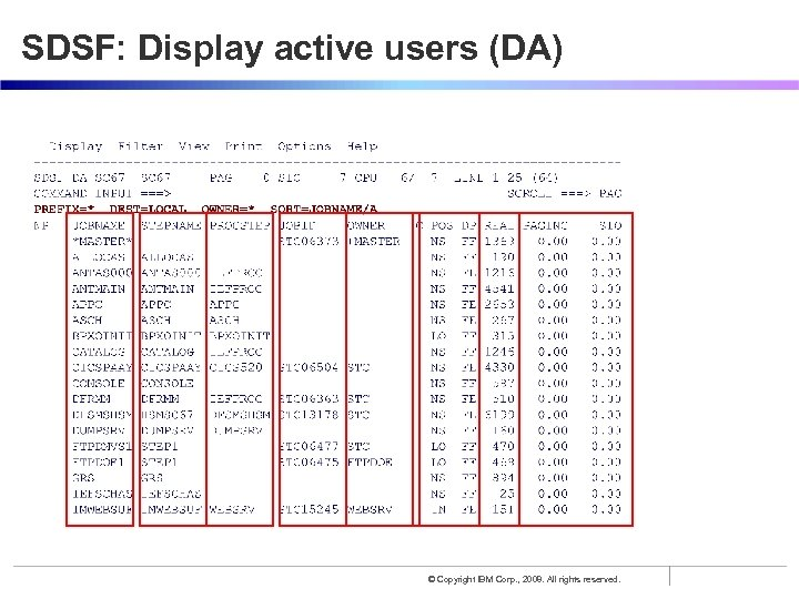 SDSF: Display active users (DA) © Copyright IBM Corp. , 2008. All rights reserved.
