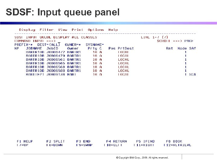 SDSF: Input queue panel © Copyright IBM Corp. , 2008. All rights reserved.