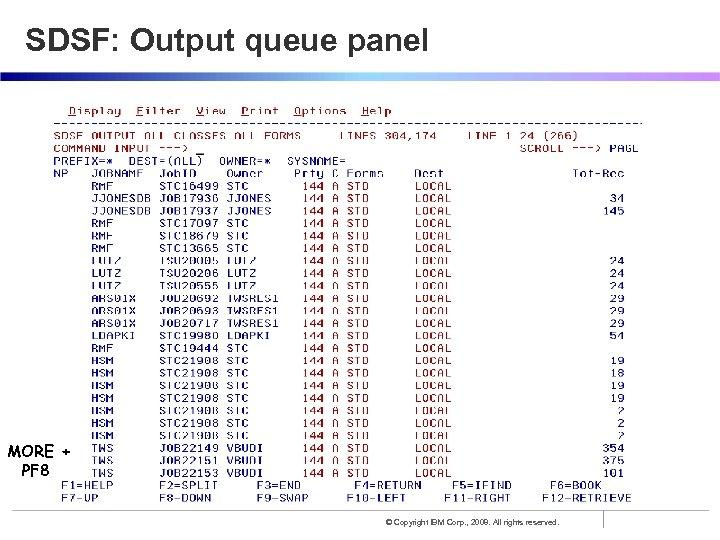 SDSF: Output queue panel MORE + PF 8 © Copyright IBM Corp. , 2008.