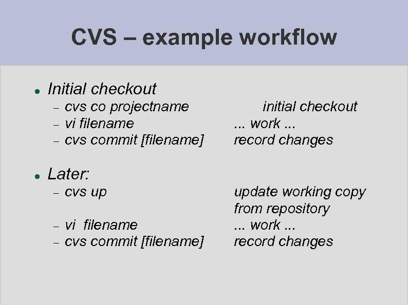 CVS – example workflow Initial checkout cvs co projectname vi filename cvs commit [filename]