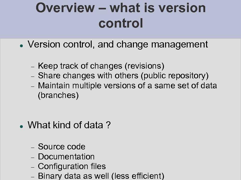 CVS concurrent versions system Network Management Workshop