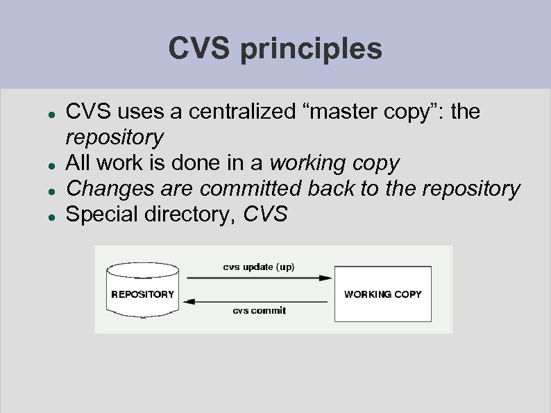 """CVS principles CVS uses a centralized """"master copy"""": the repository All work is done"""