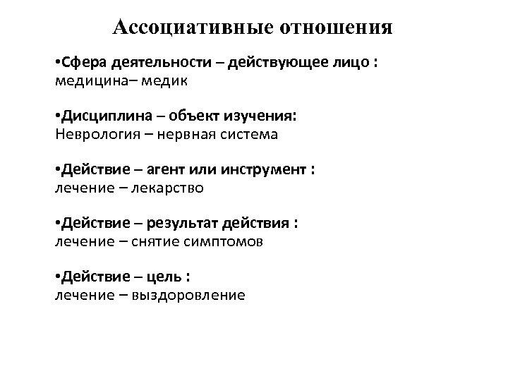 Ассоциативные отношения • Сфера деятельности – действующее лицо : медицина– медик • Дисциплина –