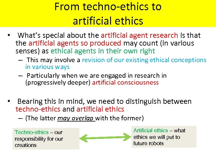 From techno-ethics to artificial ethics • What's special about the artificial agent research is