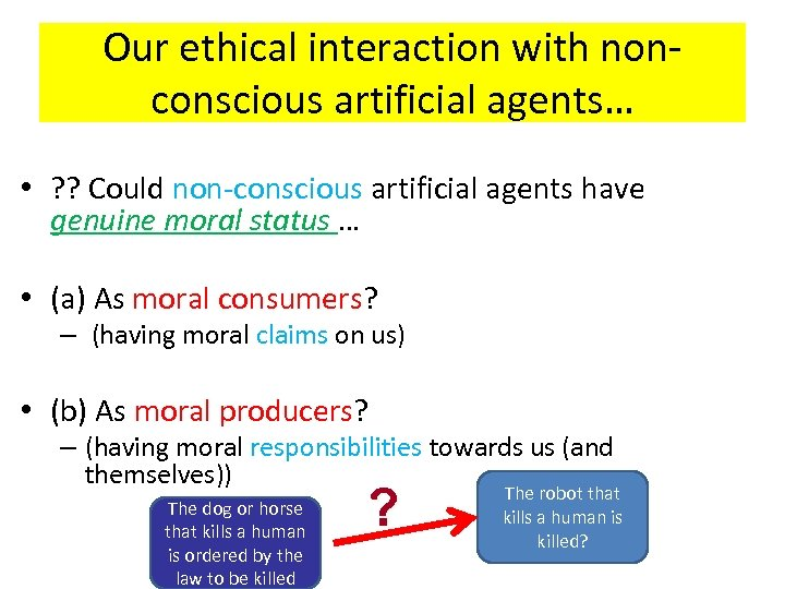 Our ethical interaction with nonconscious artificial agents… • ? ? Could non-conscious artificial agents