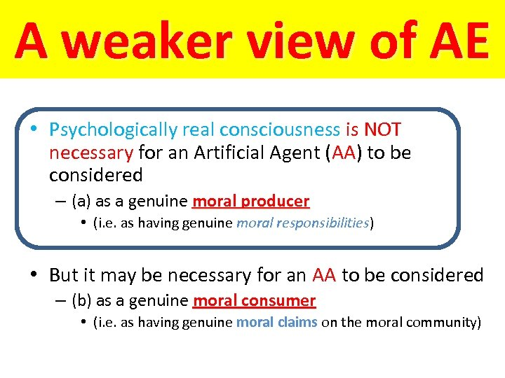 A weaker view of AE • Psychologically real consciousness is NOT necessary for an