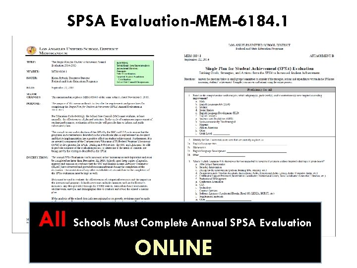 SPSA Evaluation-MEM-6184. 1 All Schools Must Complete Annual SPSA Evaluation ONLINEf