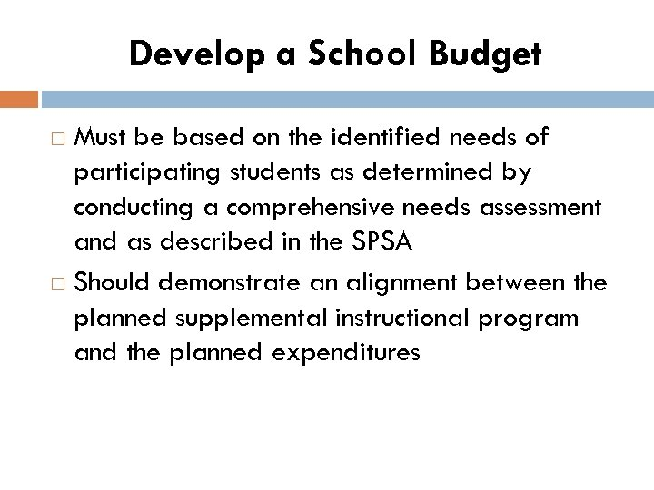 Develop a School Budget Must be based on the identified needs of participating students