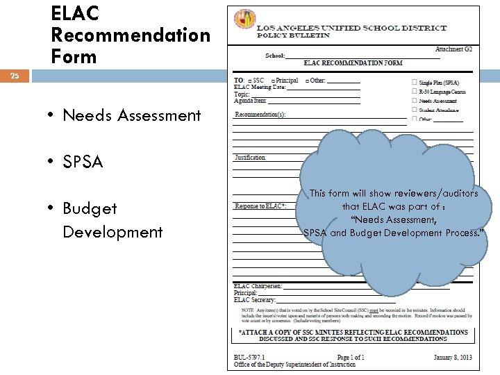 ELAC Recommendation Form 25 • Needs Assessment • SPSA • Budget Development This form