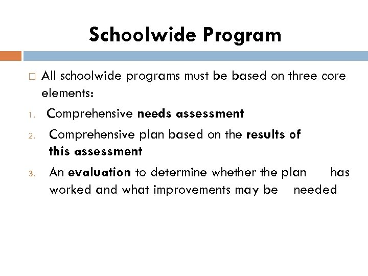 Schoolwide Program 1. 2. 3. All schoolwide programs must be based on three core
