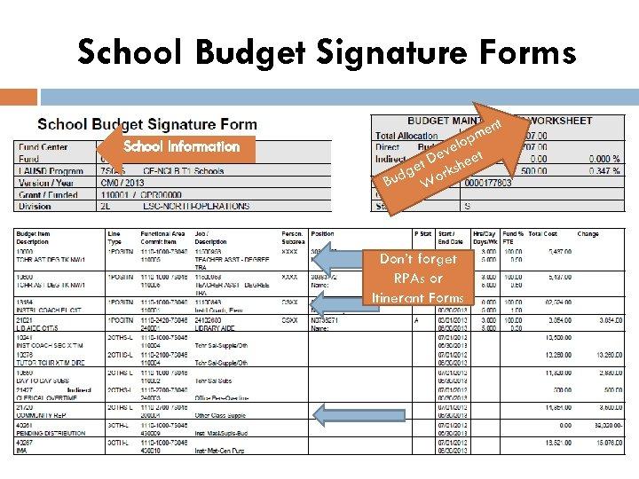 School Budget Signature Forms School Information ent m p elo t ev t D