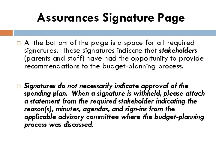 Assurances Signature Page At the bottom of the page is a space for all