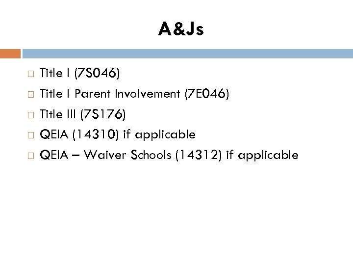 A&Js Title I (7 S 046) Title I Parent Involvement (7 E 046) Title