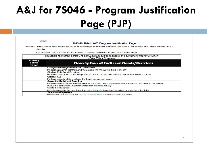 A&J for 7 S 046 - Program Justification Page (PJP)