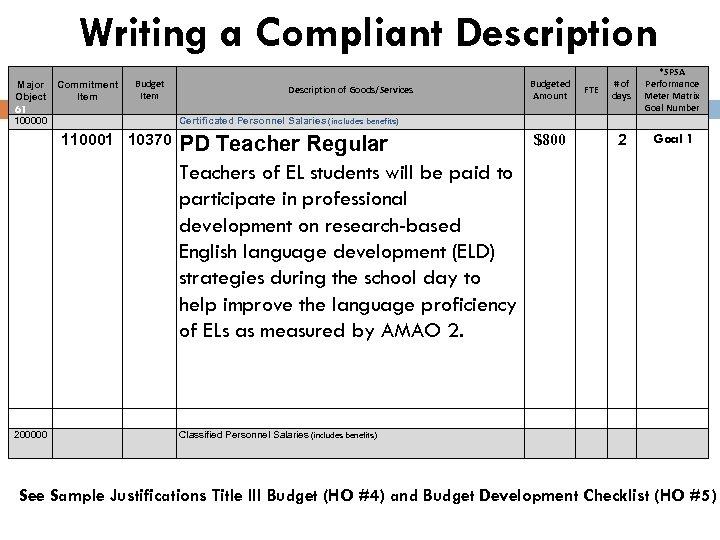 Writing a Compliant Description Major Object 61 100000 Commitment Item Budget Item 110001 10370