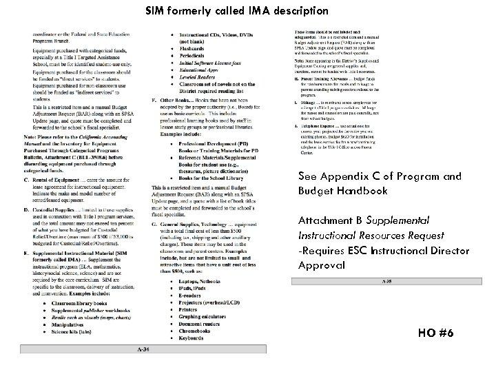 SIM formerly called IMA description See Appendix C of Program and Budget Handbook Attachment