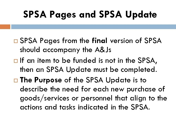SPSA Pages and SPSA Update SPSA Pages from the final version of SPSA should