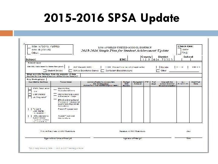 2015 -2016 SPSA Update