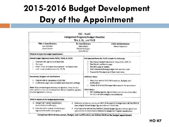 2015 -2016 Budget Development Day of the Appointment HO #7