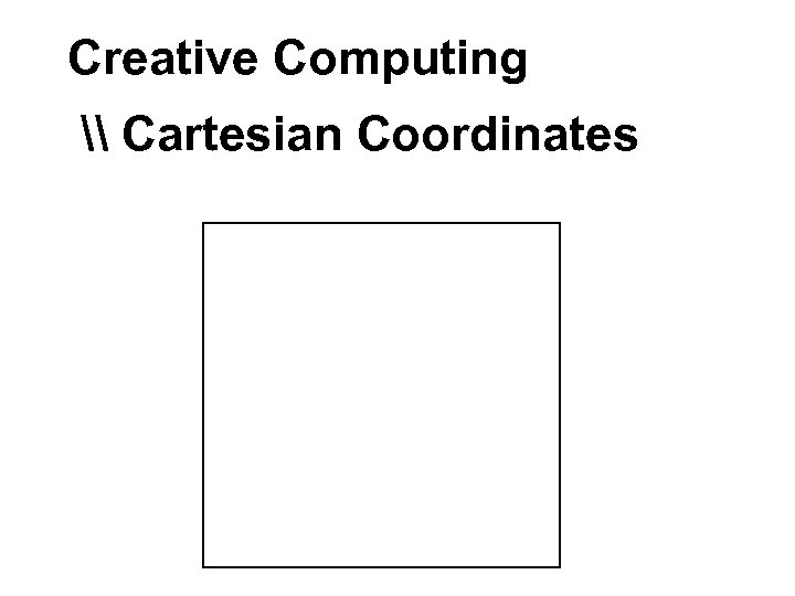 Creative Computing \ Cartesian Coordinates