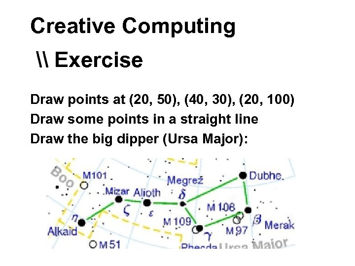 Creative Computing \ Exercise Draw points at (20, 50), (40, 30), (20, 100) Draw