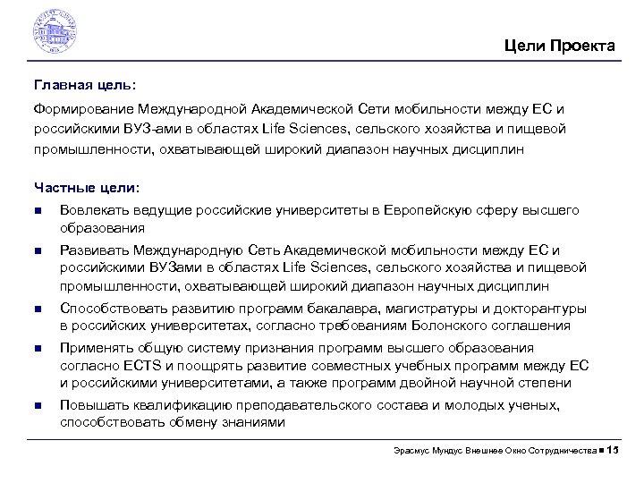 Цели Проектa Главная цель: Формирование Международной Академической Сети мобильности между ЕС и российскими ВУЗ-aми