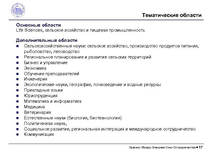 Тематические области Основные области Life Sciences, сельское хозяйство и пищевая промышленность Дополнительные области Сельскохозяйственные